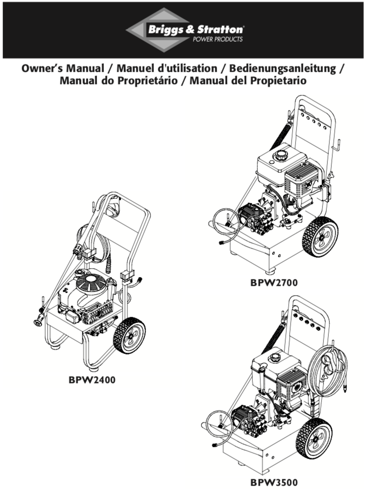 briggs and stratton power washer owners manual